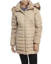 Jones New York - Brown Faux Fur Trim Puffer Coat - Lyst