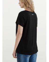 Violeta by Mango - Black Soft Fabric T-shirt - Lyst