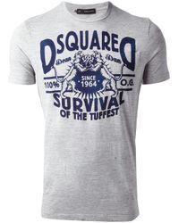 DSquared² | Gray Logo Tshirt for Men | Lyst