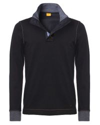 BOSS Orange | Black Whoosh Contrast Knit Jumper for Men | Lyst