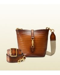 b276b77ca27 Gucci Jackie Soft Hand-stained Crocodile Bucket Bag in Brown - Lyst