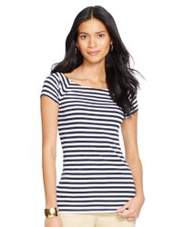 Lauren by Ralph Lauren | Blue Striped Cotton Ballet Neck Top | Lyst