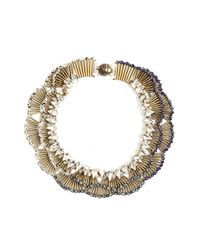 Tataborello - Blue Peonia Scalloped Ombre Crystal Necklace - Lyst