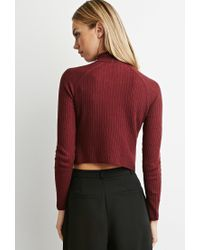 Forever 21 | Purple Ribbed Mock Neck Sweater | Lyst