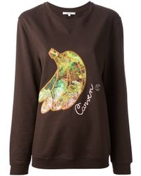 Carven | Brown Banana Embroidered Sweatshirt | Lyst