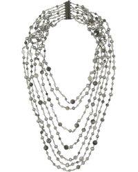 Rosantica   Metallic Pegaso Gunmetaldipped Quartz and River Pearl Necklace   Lyst