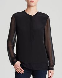 T Tahari - Black Dara Sheer Sleeve Blouse - Lyst