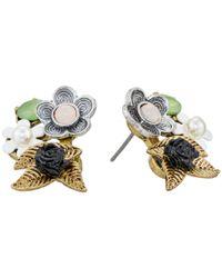 Betsey Johnson | Multicolor Wanderlust Flower Stud Earrings | Lyst