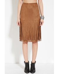 Forever 21 - Natural Fringed Faux Suede Skirt - Lyst