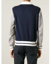 Fendi | Blue Contrast Baseball Jacket for Men | Lyst