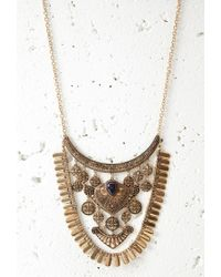 Forever 21 | Blue Etched Charm Statement Necklace You've Been Added To The Waitlist | Lyst