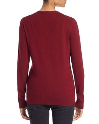 Lord & Taylor - Red Plus Merino Wool V-neck Cardigan - Lyst