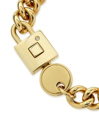 Marc By Marc Jacobs | Metallic Lock-in Golden Statement Bracelet for Men | Lyst