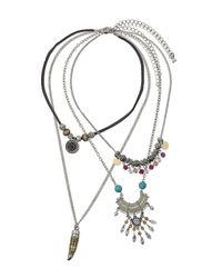 TOPSHOP - Metallic Multipack Charm Necklaces - Lyst