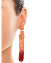 Oscar de la Renta - Pink Ombré Bead Clip Earrings - Lyst
