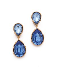 Oscar de la Renta - Blue Large Crystal Clip On Earrings - Lyst