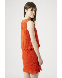 TOPSHOP - Orange Crochet Overlay Dress - Lyst