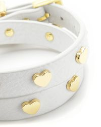 Juicy Couture | White Jc Heart Studded Leather Double Wrap Bracelet | Lyst