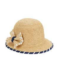 Kathy Jeanne - Natural Bow-accented Cloche Hat - Lyst