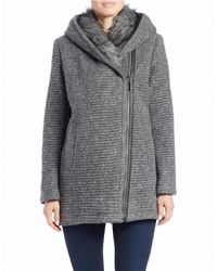 Vince Camuto | Gray Faux Fur-trimmed Asymmetrical Zip Coat | Lyst