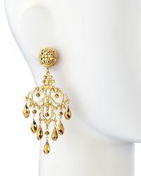 Jose & Maria Barrera - Metallic 24K Gold Plated Filigree Chandelier Earrings - Lyst