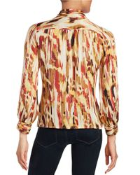 Vince Camuto | Red Petite Graphic Tie-front Blouse | Lyst
