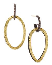 Armenta | Blue Midnight & Yellow Gold Circle Link Drop Earrings With Diamonds | Lyst