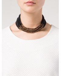 Brunello Cucinelli - Metallic Beaded Multi-strand Necklace - Lyst