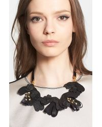 Marni | Black Saffiano Leather Necklace | Lyst