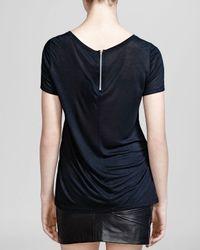 The Kooples - Black Tee - Short Sleeve Zip Back - Lyst