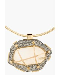 Lanvin - Metallic Hammered Gold and Crystal Bolo Tie - Lyst