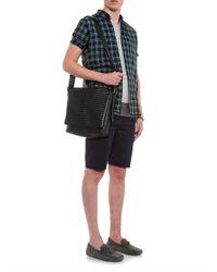 Bottega Veneta - Black Intrecciato Leather Messenger Bag for Men - Lyst