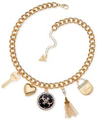 Guess - Metallic Gold-tone Crystal And Enamel Charm Necklace - Lyst