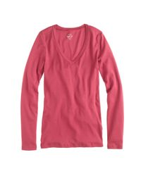J.Crew - Natural Perfect-fit Long-sleeve V-neck T-shirt - Lyst