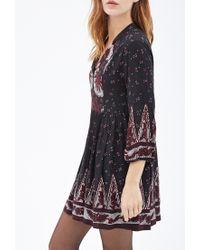 Forever 21 | Black Floral Print Babydoll Dress | Lyst