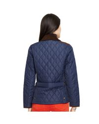 Polo Ralph Lauren - Blue Suede-trim Quilted Jacket - Lyst