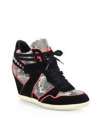 Ash | Black Bisou Studded Snakeskin Suede Wedge Sneakers | Lyst