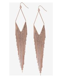 Express | Pink Diamond Shaped Metal Fringe Earrings | Lyst