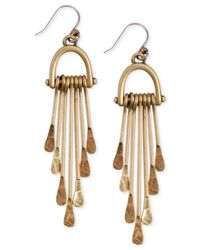 Lucky Brand | Metallic Gold-tone Hammered Paddle Drop Earrings | Lyst