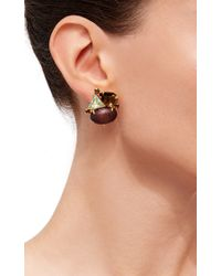 Bounkit | Brown Convertible Quartz And Wood Earrings | Lyst