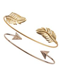 Tai | Metallic Set Of Two Arrow & Leaf Cuff Bracelets | Lyst