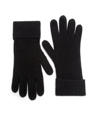 Saks Fifth Avenue | Black Ribbed Cashmere Gloves | Lyst