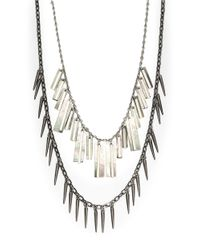 Gerard Yosca | Metallic Mother-of-pearl And Glass Fringe Pendant Necklace | Lyst
