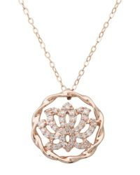 Lord & Taylor | Pink 14k Rose Gold Diamond Lotus Pendant Necklace | Lyst