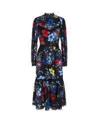 Erdem | Black Georgie Floral Midi Dress | Lyst