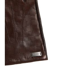 BOSS Brown Leather Gloves With Touchscreen Functionality: 'hey-tt' for men