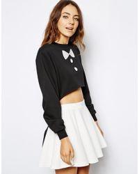 Lazy Oaf   Black Tux Sweatshirt   Lyst