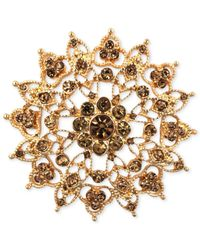 Jones New York | Metallic Gold-tone Topaz-colored Flower Pin | Lyst