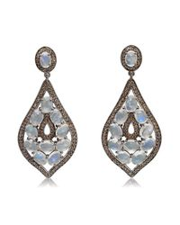 Bavna - White Sterling Silver Pave Diamonds And Moonstone Earring - Lyst