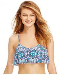 Jessica Simpson - Blue Printed Flounce Bikini Top - Lyst